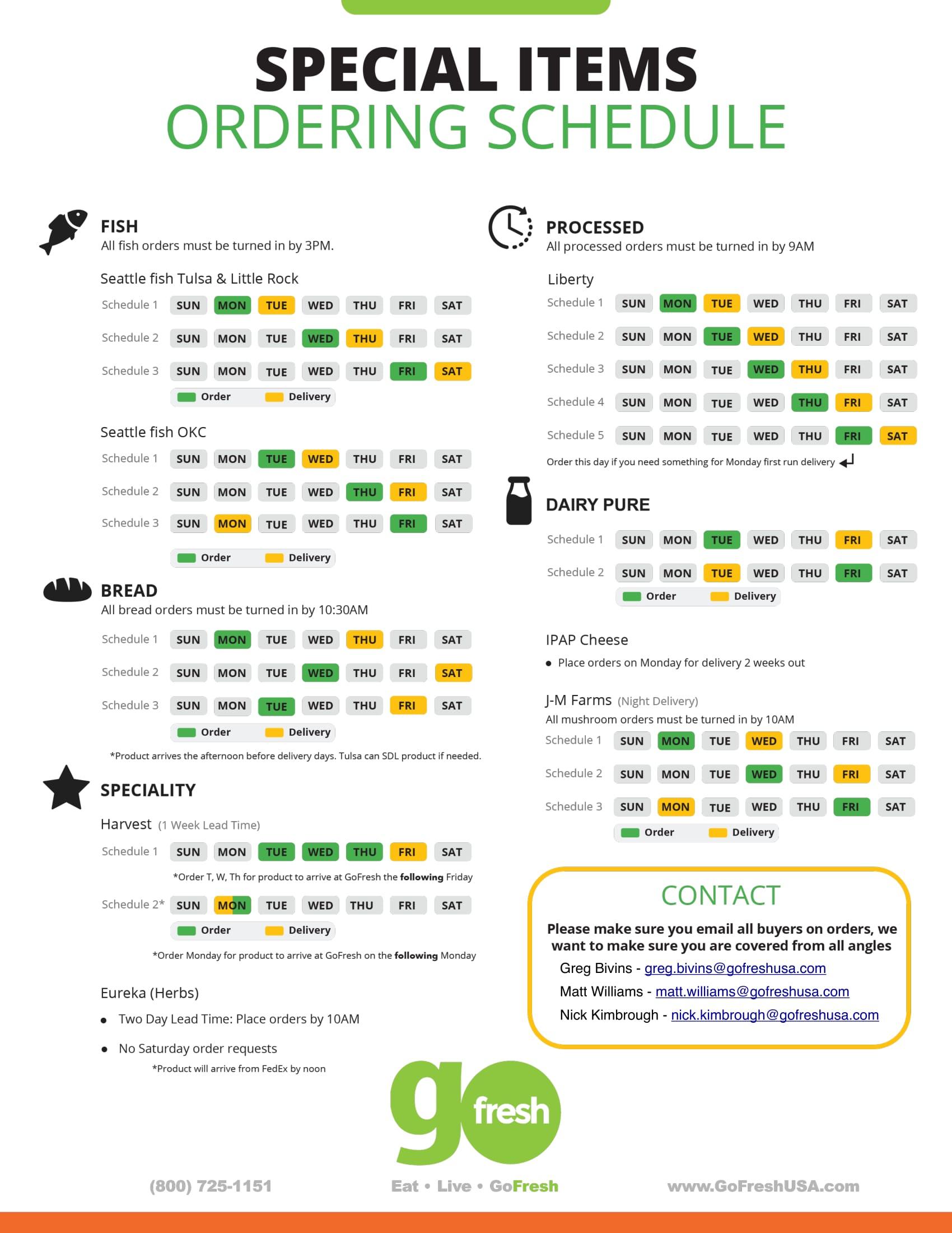 GoFresh Ordering Schedule