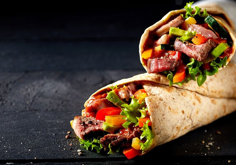 Tortilla wraps with tender sliced roasted entrecote beef steak